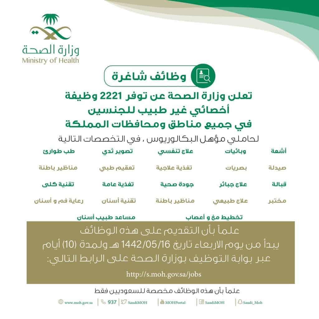 التقديم على وظائف وزارة الصحة التشغيل الذاتي 1443t